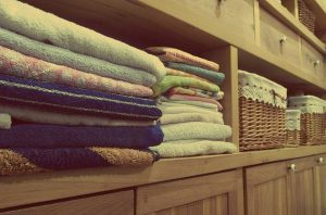 towels in a cabinet
