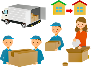 movers packing and carrying boxes