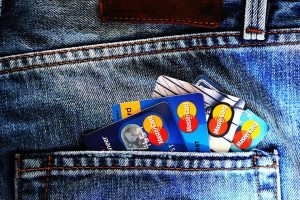 credit cards in the back pocket of jeans