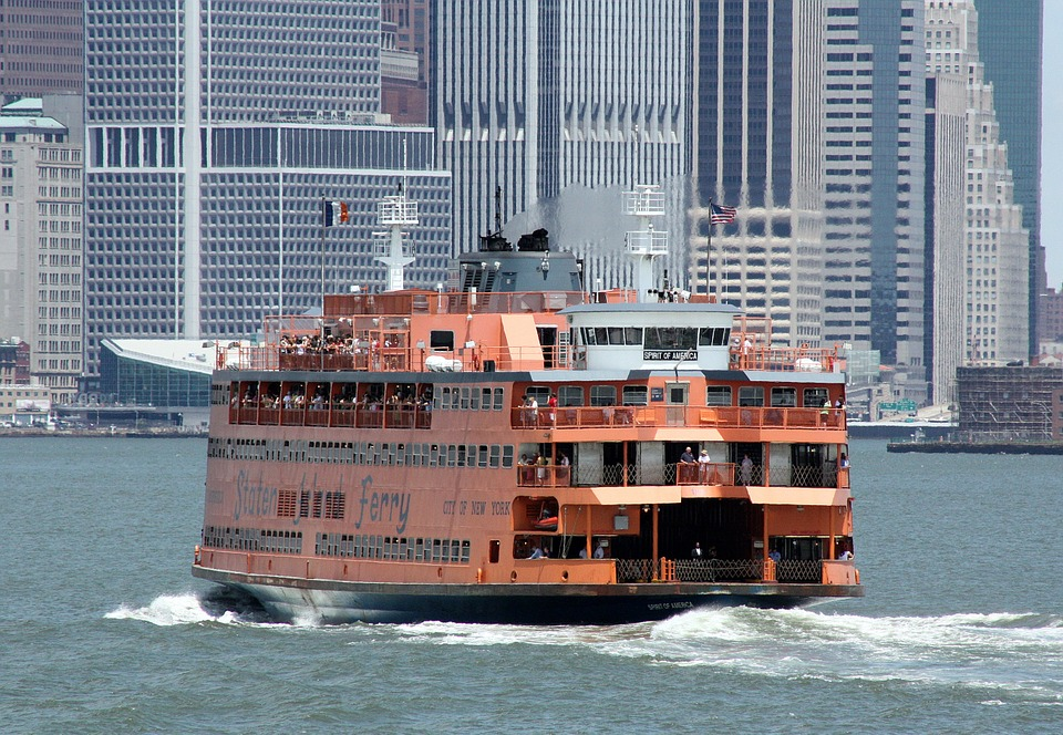 Staten Island ferry and skyscrapers in the background
