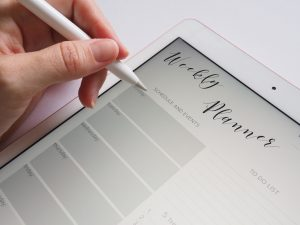 Writting with a styles in an electronic planner