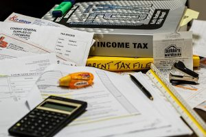 a tax papers on the table