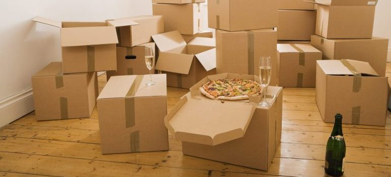 packed cardboard boxes in a room