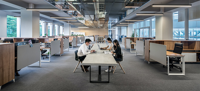 People sitting in an open space office