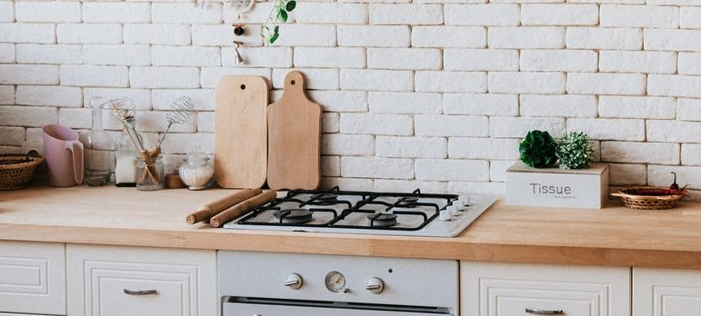 Kitchen counter and a stove