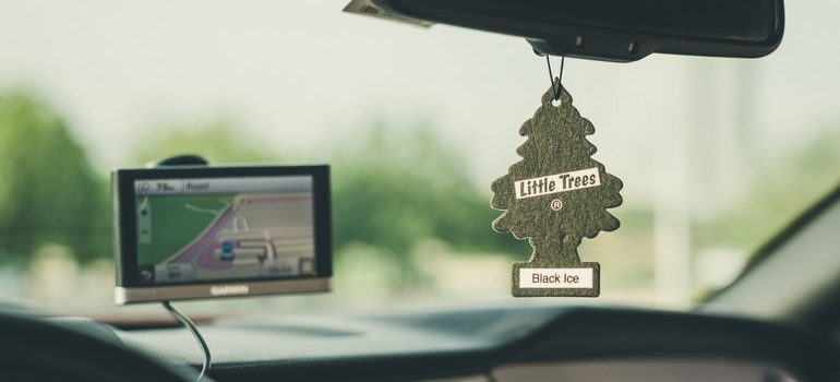 Car air freshener that you will have to remove when you prepare your car for a long distance move.
