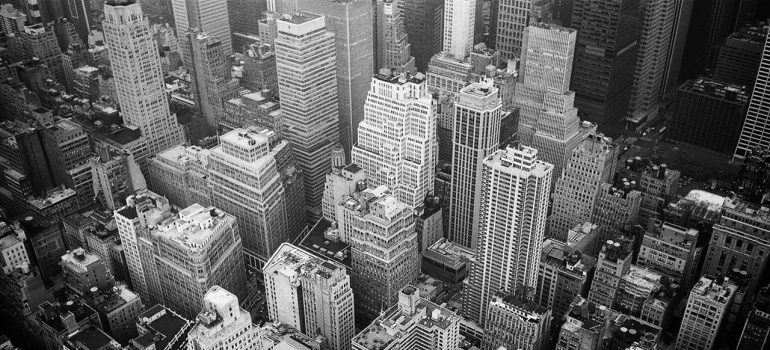 Black-and-white Queens skyline.
