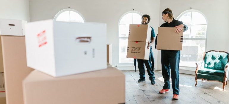 Two men carrying boxes and avoiding health and safety hazards when relocating