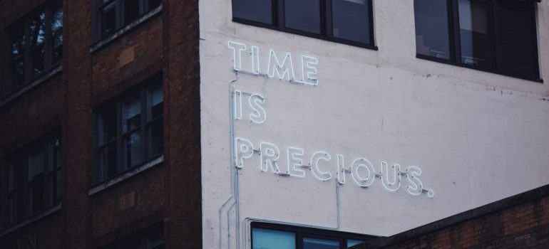 neon words on a building