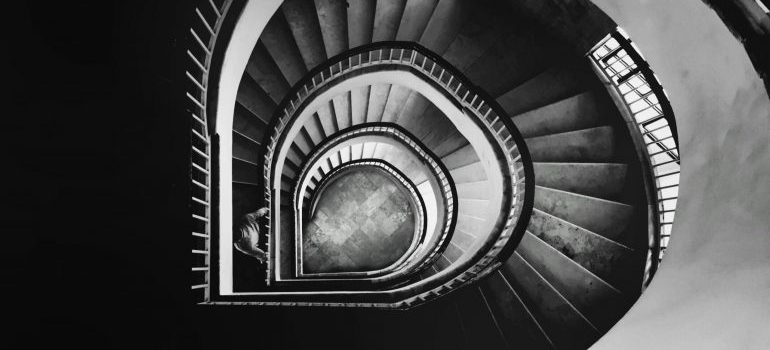 a stairway in a building